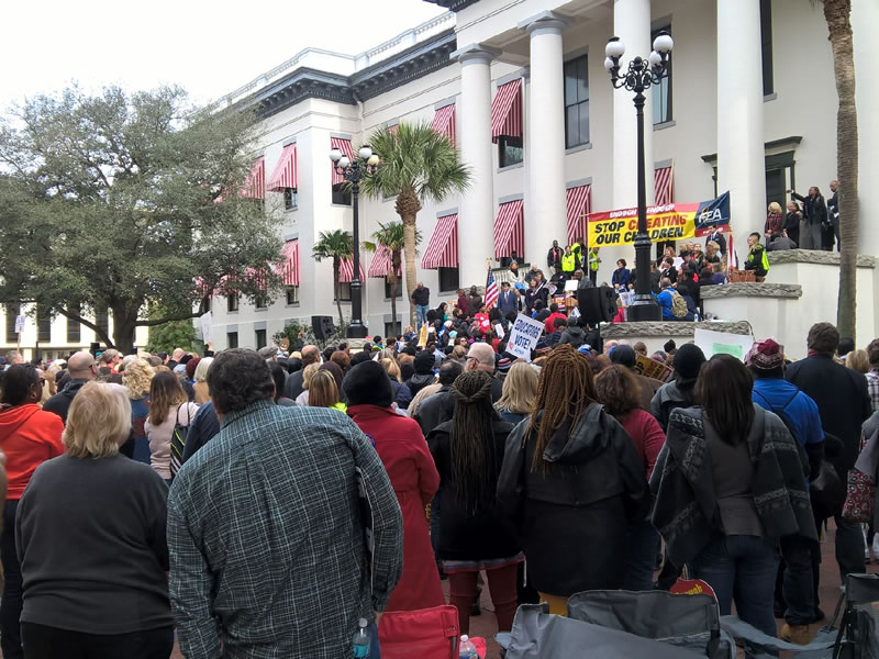 Large crowd of people at enough is enough rally