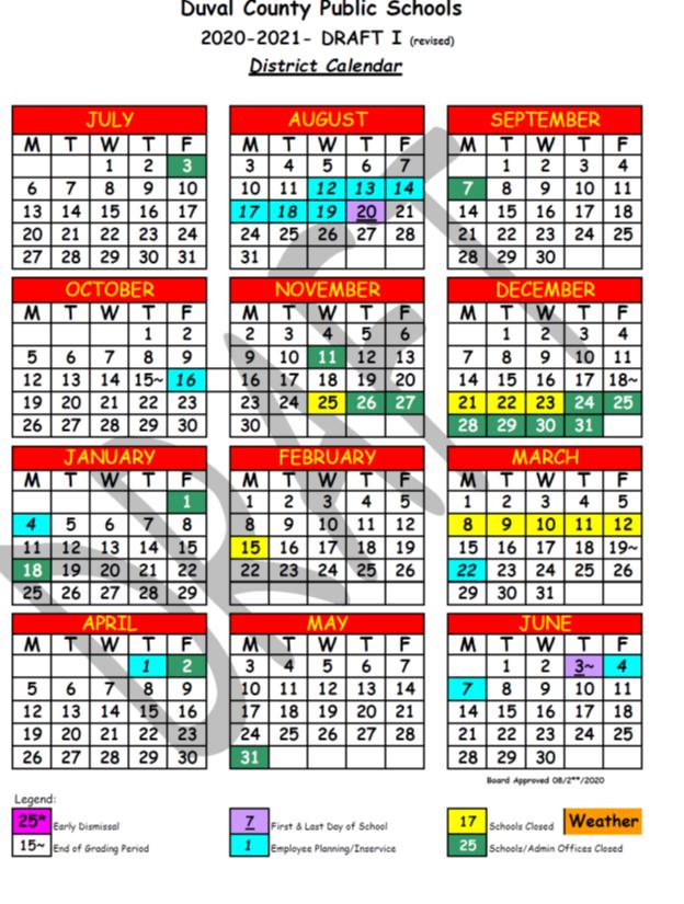 Update: 2020 2021 District Calendar   Duval Teachers United